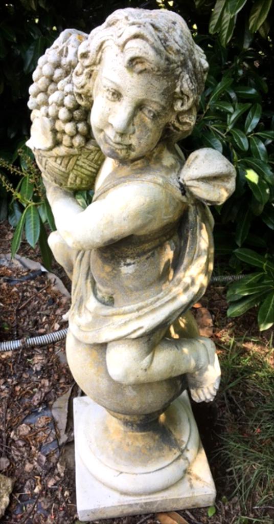 vintage french stone cherub garden statue G1