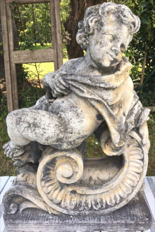 G3 Vintage French Stone Cherub Reclining Statue