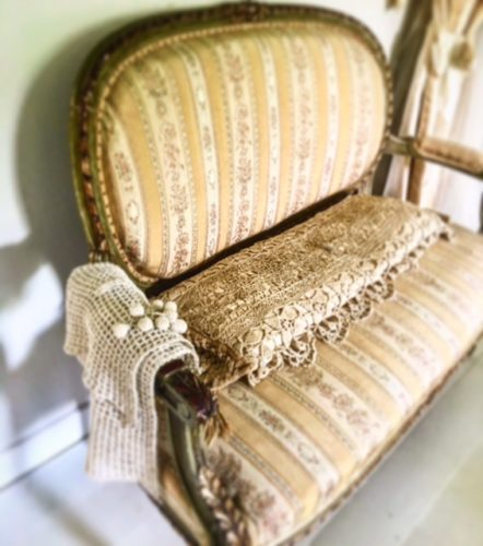 antique lace and gustavian antique sofa