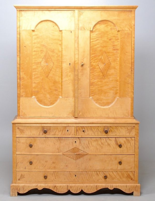 biedermeier antique swedish armoire linen press