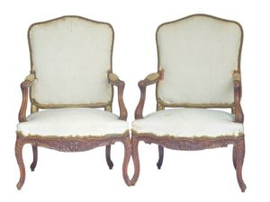 antique french bergere armchairs - worldwide shipping