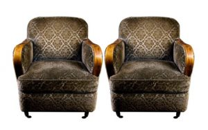 AR 44 Padded antique swedish art deco armchairs