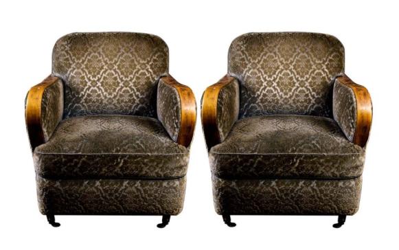 AR 44 Padded antique swedish art deco armchairs