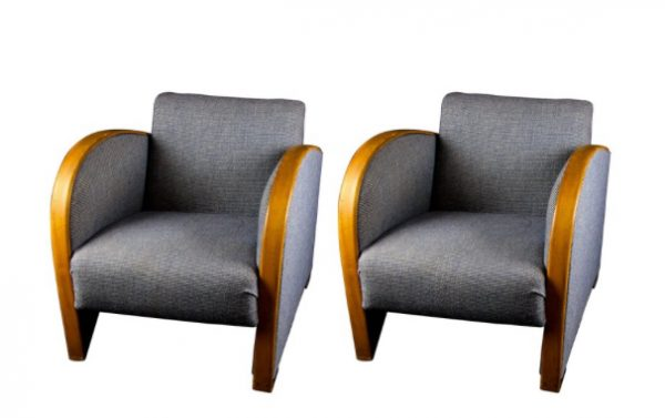 AR28 Grey Art Deco Armchairs