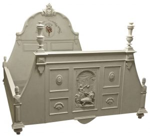 handmade bespoke superking gustavian painted carved bed 2