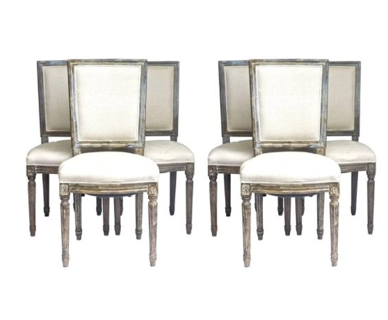 CH60 6 Padded back Gustavian dining chairs