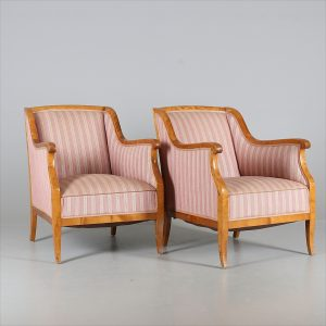 A AR46 Biedermeier Armchairs Swedish Golden Birch Pair