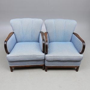 Original Pair Swedish Art Deco Antique Armchairs in blue fabric golden birch arms for sale