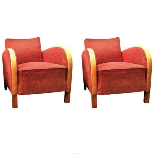 antique swedish art deco armchairs pair