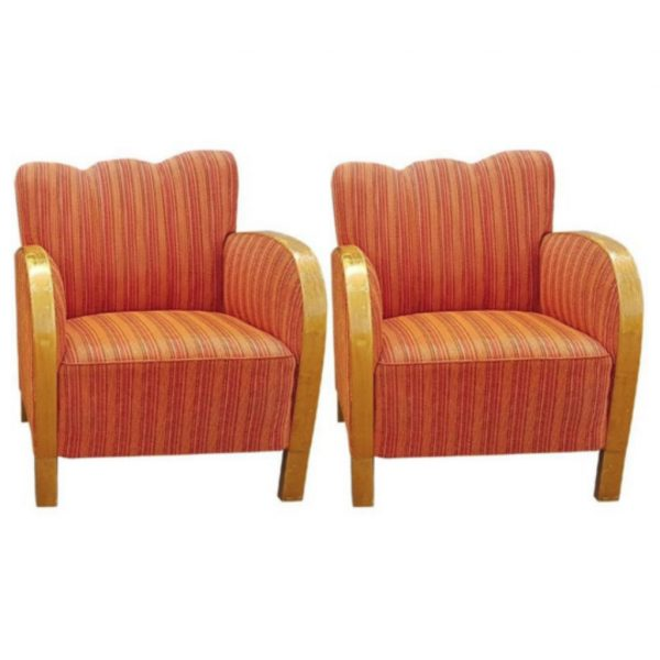 antique swedish art deco armchairs orange