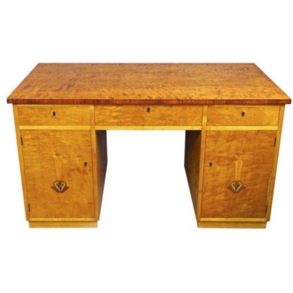 swedish art deco intarsia 1900s partners pedestal desk