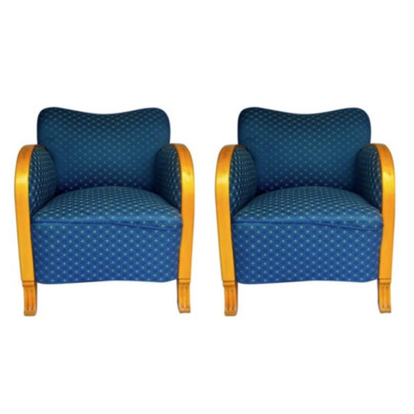 antique swedish art deco armchairs blue