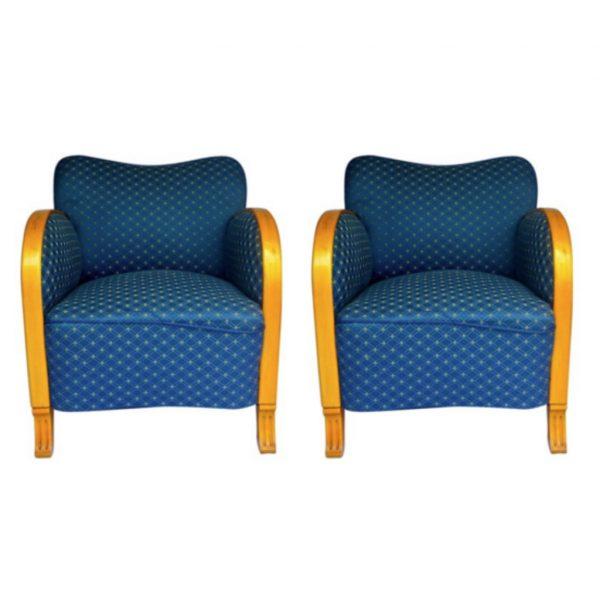 antique swedish art deco armchairs blue