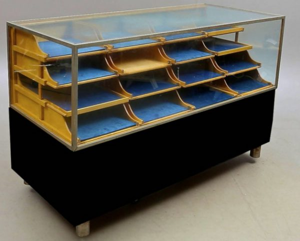 1940s Swedish Antique Art Deco Glass Shop Counter Drawers vitrine cabinet for sale