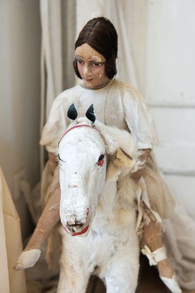 french antique doll and rocking horse