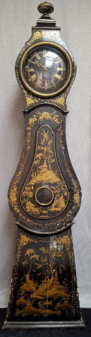 MC128 Chinoiserie Mora Clock Handpainted Swedish Black Gold detailing