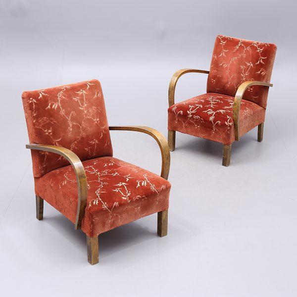 AR46 art deco open arm swedish armchairs