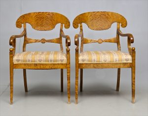 Swedish Biedermeier carver chairs 1800s antique pair
