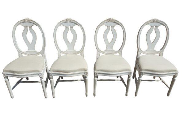 set of 4 swedish gustavian roseback dining chairs vintage