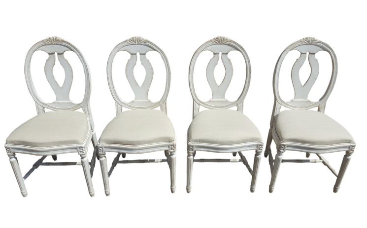 set of 4 swedish gustavian roseback dining chairs vintage