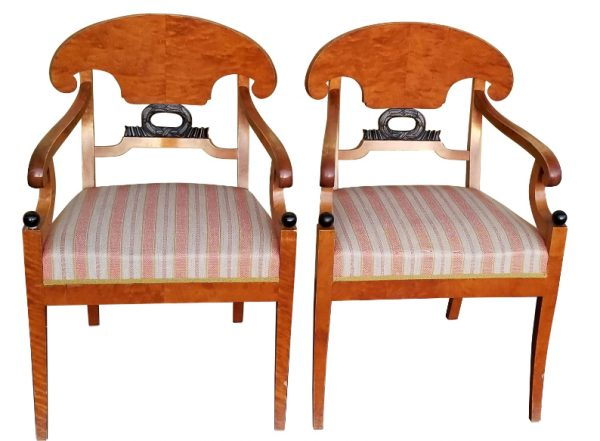 antique swedisg biedermeier carver chairs wreath