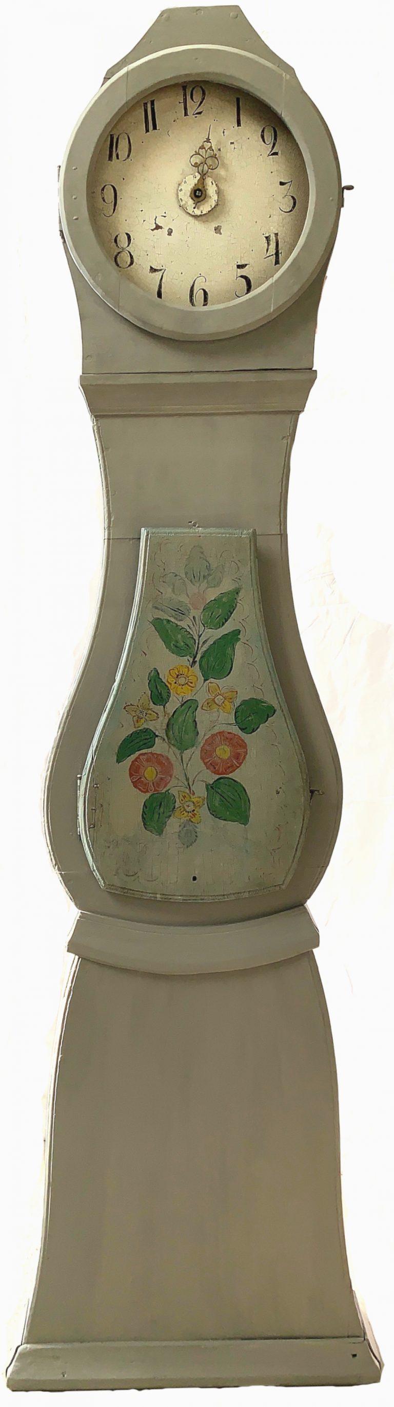MC164 swedish antique grey flowers mora clock