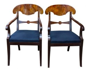 swedish biedermeier carver chairs mahogany blue