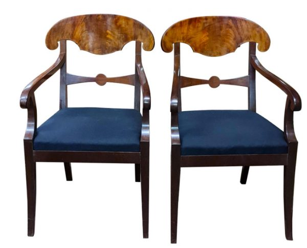 swedish biedermeier carver chairs mahogany blue