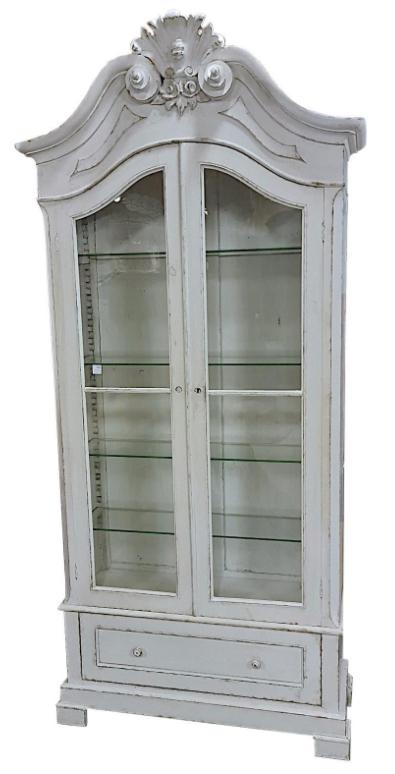 cab 93 1800s gustavian white virtine display cabinet armoire linen press