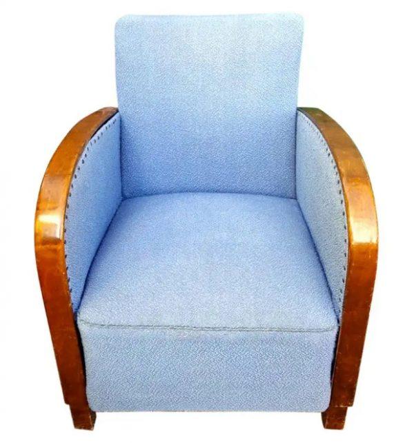 swedish art deco armchair single blue