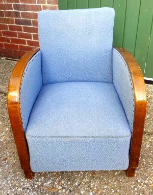 swedish art deco armchair single blue