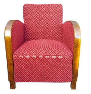 swedish art deco armchair single red