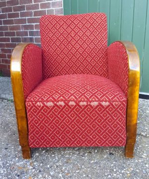 swedish art deco armchair single red