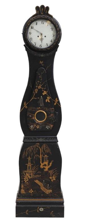 mc204 antique swedish mora clock chinoiserie black gold