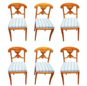 set of 6 swedish blonde biedermeier dining chairs antique beidermeier swedish