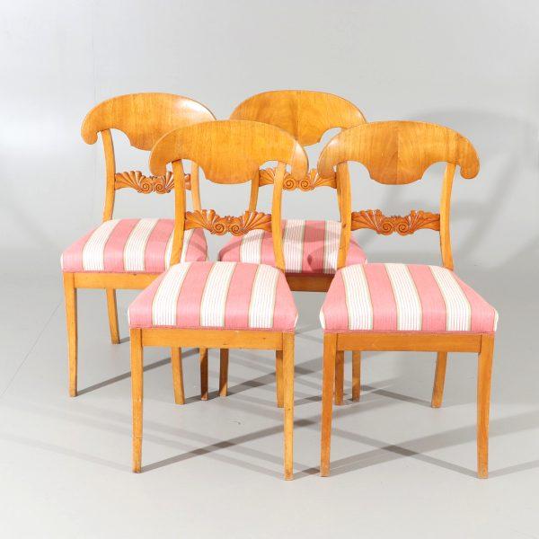 set of 4 swedish blonde biedermeier dining chairs antique beidermeier swedish