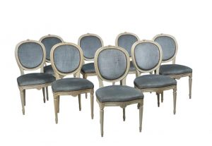 set of 8 early 1900s swedish antique gustavian round back upholstered dining chairs