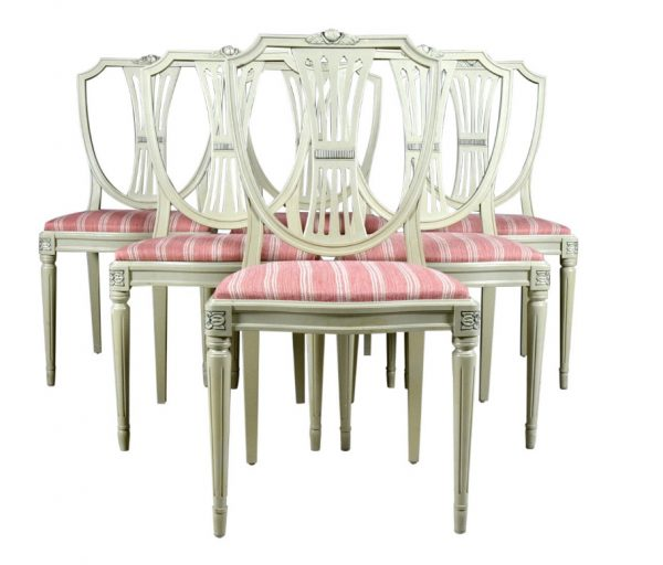 set of 6 vintage 1980s swedish antique gustavian round back upholstered dining chairs