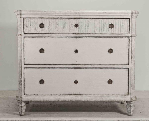 Antique Swedish 1850 ribbed gustavian drawers swedish 1832